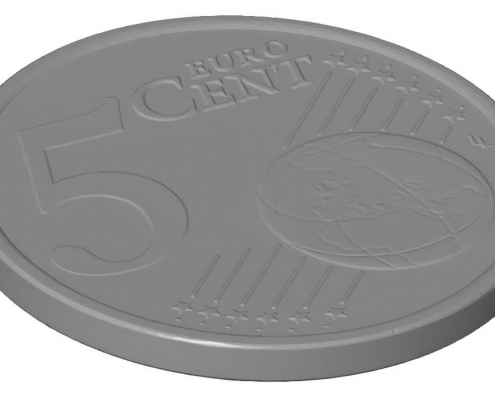 TetraVision high resolution 3D Scan of a coin with the GOM ATOS III Triplescan